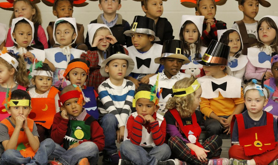 Kindergarten students at John Glenn Elementary School preform during a Thanksgiving play in Oklahoma City, Friday November, 20 2015. Photo By Steve Gooch, The Oklahoman