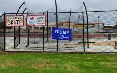 President Trump banner on the Ximeno school gate on October 25.