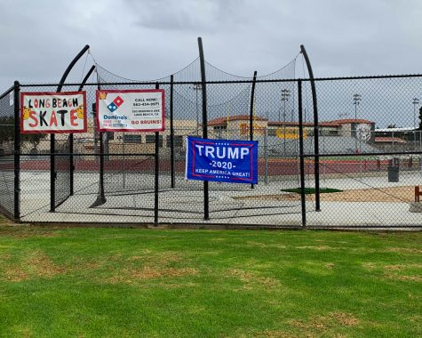 President Trump banner on the Ximeno school gate on October 25.