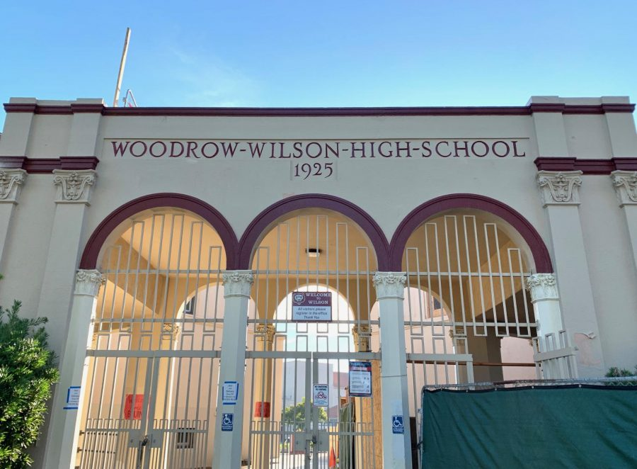 Woodrow Wilson's name on the front entrance of the school.