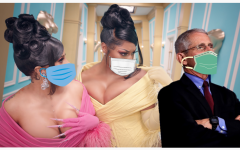 Fauci with the WAP girls on the set of the WAP music video, shunning those too cowardly to put their mask over their noses.
