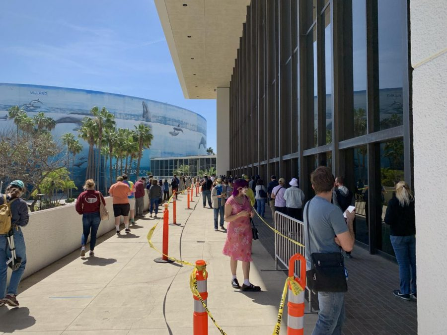 Walk-up vaccine distribution at the Long Beach Convention Center.